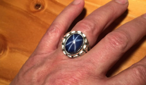 MENS UNIQUE RING WITH OVAL 16CT. BLUE STAR SAPPHIRE IN HEAVY  STERLING SILVER