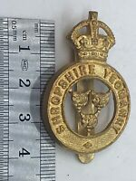 A British Army SHROPSHIRE YEOMANRY gilt washed cap badge with rear loops - - B21