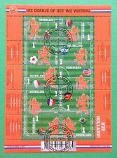 Nederland compleet vel V 3187 - 3196 Oranje op het WK Voetbal 2014 gestempeld