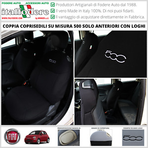 COPPIA COPRISEDILI Fiat 500 SU MISURA Fodera Fodere Foderine SOLO ANTERIORI Nero