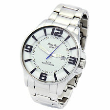 PHILIP PERSIO QUARTZ 3 ATM WATER PROOF SILVER FLEX BAND WATCH With Date