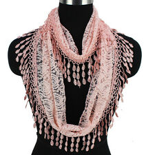 Women's Crochet Paisley Floral Lace Tassel Solid Color Ladies Infinity Scarf New