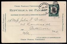 1911 Cristobal, Canal Zone to Baltimore - UX2 Postal Card - Shifted Overprint