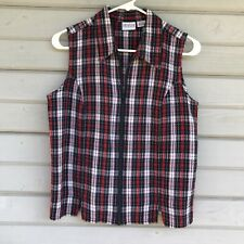 Carolina Colours Womens Zip Front Plaid Blouse Size Medium Sleeveless Vest