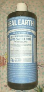 Dr. Bronner's 18-1 Hemp Baby Unscented Pure-Castile Liquid Soap, 32 ounce