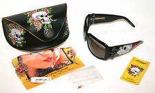 ED HARDY SUNGLASSES. SKULS AND ROSES. BLACK UNISEX. CASE INCL. EHS001 61-20 120