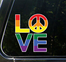 "CLR:CAR LOVE Sculpture Peace Sign Pride Rainbow - Car Decal ©YYDC (4.8""wX5.5""w)"