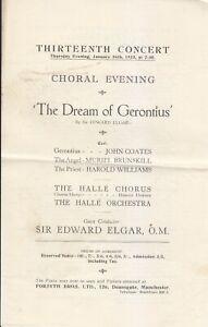 Concert Programme 1933 Flyer Sir Edward Elgar Conducts Dream of Gerontius Halle