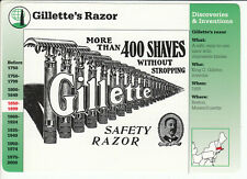 KING GILLETTE'S SAFETY RAZOR Invention Ad Art 1996 GROLIER STORY OF AMERICA CARD