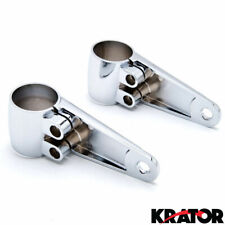 35mm-41mm Fork Mounted Headlight Brackets Chrome Polished Aluminum Pair w/ Shims