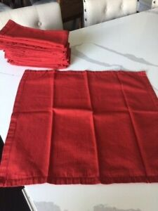 """Set of 12 Crate & Barrel Henley Red Striped Cloth Dinner Napkins 20"""" x18"""" Nice!"""