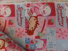 New By The Yard Strawberry Shortcake SNOWMAN Quilting Sewing FABRIC Cotton