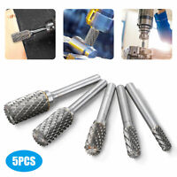 """5pcs 1/4"""" Tungsten Carbide Burr Die Grinder Shank 6-14mm Rotary Drill Bits Set"""