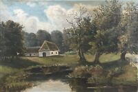 Oil Painting Old Home at the Edge of Forest Nature Pond Flawed 16 7/8x24 5/8in