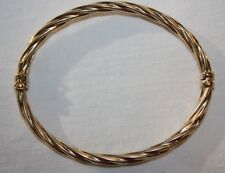 "MILOR 18K YELLOW GOLD OVAL TWIST HINGED BANGLE BRACELET OPENS FITS 7"" ITALY"