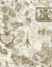 Timeless Treasures Tres Jolie Paris Map paris-C2812-Cream Cotton Fabric BTY