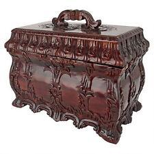 British Victorian Tea Caddy Box Hand-carved solid mahogany antique replica