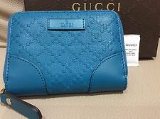 $360 New Gucci wallet diamante Zipper Card Case cobalt credit card AUTHENTIC gg