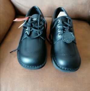 Kickers  Mens Lo M Core Black Leather Work School Shoes Size 11