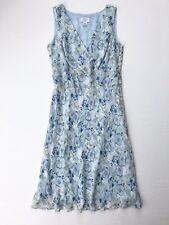 ANN TAYLOR LOFT 100% Silk Blue Green White Floral Sundress Women's 4 Small
