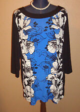 JM Collection Modern Mix Blue Black Floral Studded Tunic Top Size XL NWT