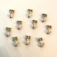 Set of 10 Small Leather Paracord Silver Anchor Charms - 5mm Hole - US Seller