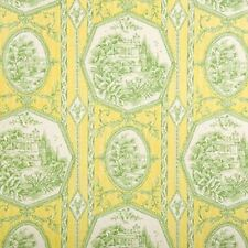 LIME YELLOW GREEN Framed Park Theme Toile Home Decor Drapery Sewing Fabric BTY