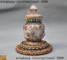 Tibetan Buddhism crystal silver Filigree Hand-inlay turquoise gem Relic Pot jar