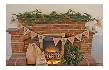 Feliz Navidad Christmas Hanging Decoration Hessian Bunting Burlap Garland Flags