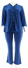 Antthony Couture Escapades Embellished Top Boot-Cut Pant ROYAL 1X # 558-808