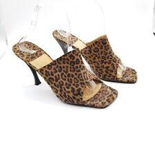 Stuart Weitzman Leopard  Print Slide Heels Open Toe Brown Women 10.5 M