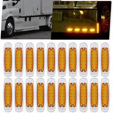 20 Pack Amber Side Marker Light Clearance 12 LED Truck Trailer For Peterbilt 12V