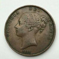 Dated : 1853 - Copper Coin - One Penny - 1d Coin - Queen Victoria