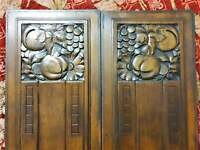 Pair Art deco flower wood carving panel Antique french architectural salvage