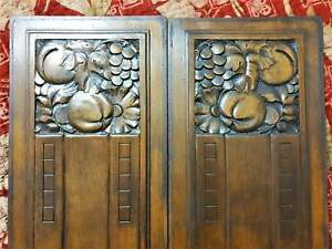 Pair Art deco black patinated panel Antique french flower architectural salvage