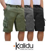 Bermuda Uomo Cargo Pantalone corto Tasconi Laterali Shorts Cotone Nero Verde