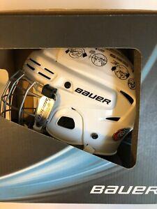 New White Certified Bauer Ice Hockey Combo Helmet 2100 Medium Same Day Ship