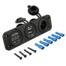 12V Dual Car Cigarette Lighter Socket 2 USB Adapter Charger&Digital Voltmeter PK