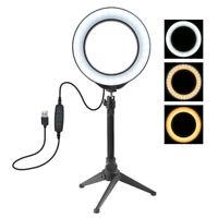 "4.7"" Dimmable LED Ring Video Light Makeup Studio Photography Lighting Kit + Trip"