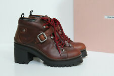 8.5 / 38.5 Miu Miu Brown Leather Never Mind Lace up Ankle Block Heel Boot Shoes