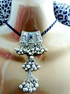 Indian Antique Style Silver Choker Tassle Tassel Bell Prom Wedding Necklace