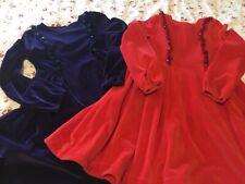 Mini Boden girls velvet dresses Purple/red 8-9 (Twins )