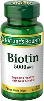 Nature's Bounty Biotin 5000 mcg Liquid Softgels 72 ea (Pack of 2)