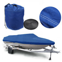 600D Heavy Duty Speedboat Boat Cover For 14-16ft Fish-Ski V-Hull Blue Waterproof