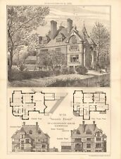 1883 ANTIQUE ARCHITECTURE, DESIGN PRINT- ARTIST'S HOUSES, MR CHRISTIAN,HAMPSTEAD