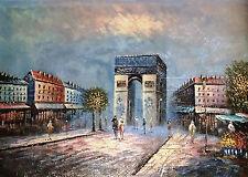 Paris France Arc de Triomphe 24 X 36  Oil Painting on Canvas