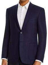 Canali Men's Navy Blue Glenplaid blazer 42 Long Customer Return 100% Wool