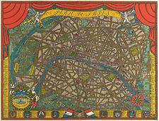 "1927 Pictorial Map of Paris 11""x14"" Wall Art Poster Print Artwork Decor Vintage"