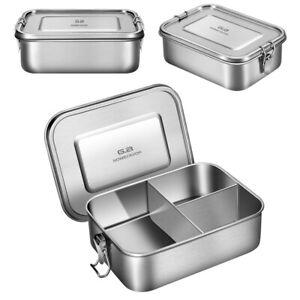 Edelstahl Lunchbox Brotdose mit 3-Fächer 1200/1400ml für Kinder Erwachsene