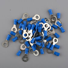 50pcs Blue 6.4mm Insulated Ring Electric Cable Wire Crimp Terminals for Car